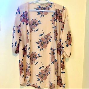 Saltwater Luxe flowy blush floral kimono ruana
